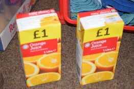 Two litre cartons of orange juice BB May 21