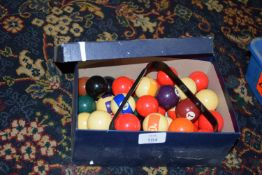 Set of small novelty snooker and pool balls, designed for a toy table