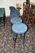 Cushioned round bar stool, 80cm high x 7