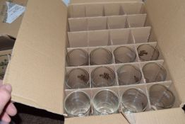 Box of 12 half pint glasses, Old Speckled Hen