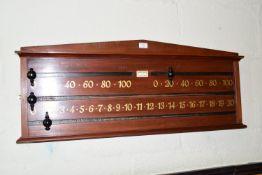 Cowdroy, Bland & Co snooker scoreboard, width approx 102cm