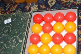 Boxed set of pool balls
