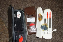 Two part cased dart sets and one case of dart flights
