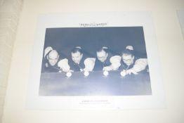 Poster of four World Champions, Walter Donaldson, Joe Davis, Fred Davis, John Pullman, width 103cm