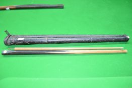 Vintage Burroughs & Watts snooker cue along with a carrying case, (a/f)