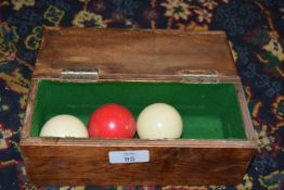 Cased set of English billiards balls (spot white)