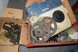 Box of chain and sprockets