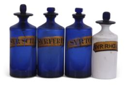 Group of four mid-19th century chemists drug jars, three blue glass with gilt titles and a further