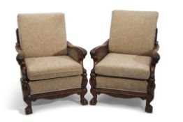 Late 19th/early 20th century mahogany Bergere suite, comprising a double caned three-seater sofa and