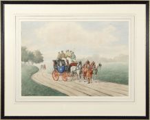 K Ramsay, watercolour of an early 19th century stage coach in landscape, signed, 52 x 38cm