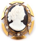 Victorian oval hardstone cameo brooch depicting a head and shoulders profile of a Bacchanalian lady,