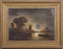 John Berney Crome, (1794-1842), Moonlight over the river, oil on canvas, 50 x 70cm. Provenance: