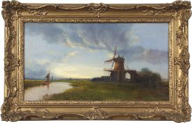 Norwich School (19th century), St Benet's Abbey, oil on canvas, 30 x 54cm