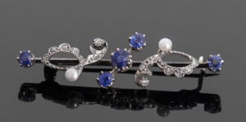 Antique sapphire diamond and pearl brooch, a design featuring five graduated round faceted