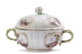 Fine mid-18th century Meissen small tureen and cover, the body impressed with flowers and