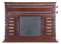 Vintage mahogany score board with life pool indicators, 12 slides with hidden mother of pearl discs,