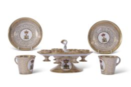 Rare late 18th century English porcelain egg cup stand, probably Coalport or Worcester, together