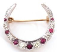 9ct gold ruby and diamond crescent brooch, set with graduating round brilliant cut diamonds and