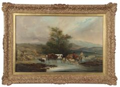 English School (19th century), Mountain landscape with figures, cows, sheep and goats crossing a