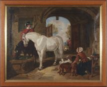 Attributed to Henry Charles Woollett (fl. 1851-1898), oil on canvas, Horse and courtyard scene after