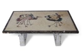 20th century Indian inlaid coloured marble top conservatory or coffee table, the top with coloured