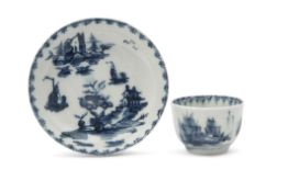 Good Lowestoft porcelain miniature tea bowl and saucer, circa 1765, with chinoiserie scenes within a