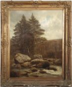 Henry Rollet (act 1881-1915), Wooded river landscape with two boys fishing, oil on canvas, signed