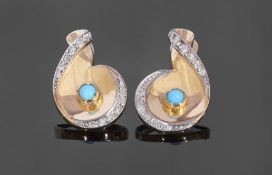 Pair of 18ct gold turquoise and diamond cocktail earrings, a disc design centring a bezel set
