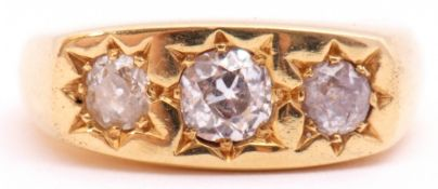 18ct gold three stone diamond ring featuring three graduated round old cut diamonds, approx 1ct,