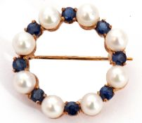 Sapphire and pearl brooch, a garland design alternate set with eight small pearls and eight