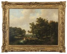 Marinus Adrianus Koekkoek (1807-1868), Wooded river landscapes with figures and animals, pair of