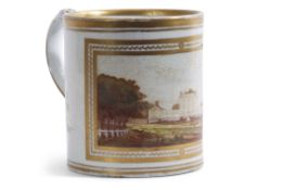 Late 18th century English porcelain mug, probably Coalport, decorated by William Billingsly