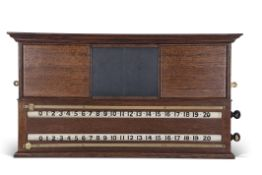 Vintage oak scoreboard, two white rollers with painted numerals, 0-100, brass slide indicators and a