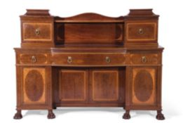 Fine quality Edwardian Sheraton revival bow fronted sideboard, a top superstructure featuring a line