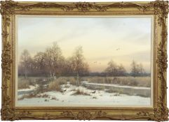Colin W Burns (born 1944), Norfolk winter landscape with pheasants, oil on canvas, signed lower
