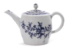 Unusual Lowestoft porcelain barrel shaped tea pot and cover, decorated with trailing flowers