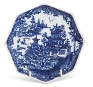 Lowestoft porcelain tea pot stand decorated in underglaze blue with a printed design of pagoda or