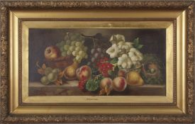 After Vincent Clare (1855-1930), Still Life study of mixed fruit, flowers and birds nest on a marble