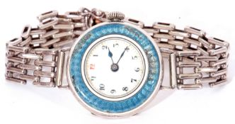 First quarter of 20th century ladies 925 and enamel wrist watch, having blued steel hands to a white