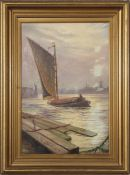 Stephen John Batchelder (1849-1932), Wherry at Yarmouth, oil on canvas, signed and dated 1895, lower