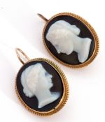 Pair of Victorian oval hardstone cameo earrings, head and shoulders profiles of a lady, carved in