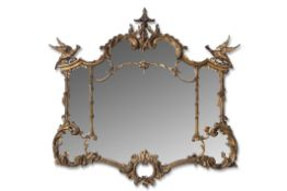 Large 20th century Chinese Chippendale style ornate gilt wood wall mirror in rococo taste,