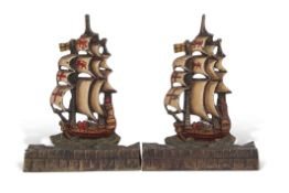 Pair of early 20th century heavy cast brass bookends formed as three-masted sailing ships in full