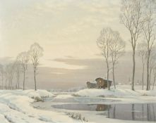 Roger Desoutter, oil on canvas, Gipsy caravans, 74 x 57cm