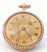 Last quarter of 19th century Ladies unmarked gold cased fob watch with blued steel hands to a gold