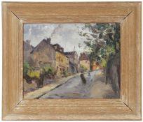 Oil on panel, Street scene, signed Bils, 23 x 8cm