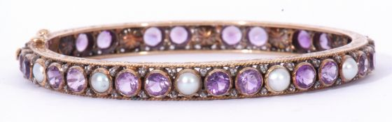 European amethyst pearl and diamond hinged bracelet, a continuous design featuring pairs of round
