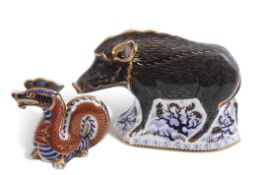 Royal Crown Derby paperweight of The Wild Boar with gold button, together with Royal Crown Derby