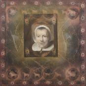 "AR Paul Wilson (contemporary), ""Portrait of a woman"", mixed media on canvas, 92 x 92cm, unframed"