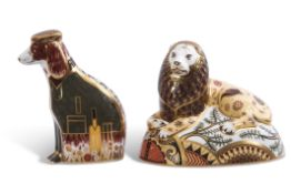 Two Royal Crown Derby paperweights, one of the Nemean lion, limited edition of 750, this example